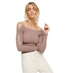 Free People Mauve Criss Cross Shoulder Strappy Top